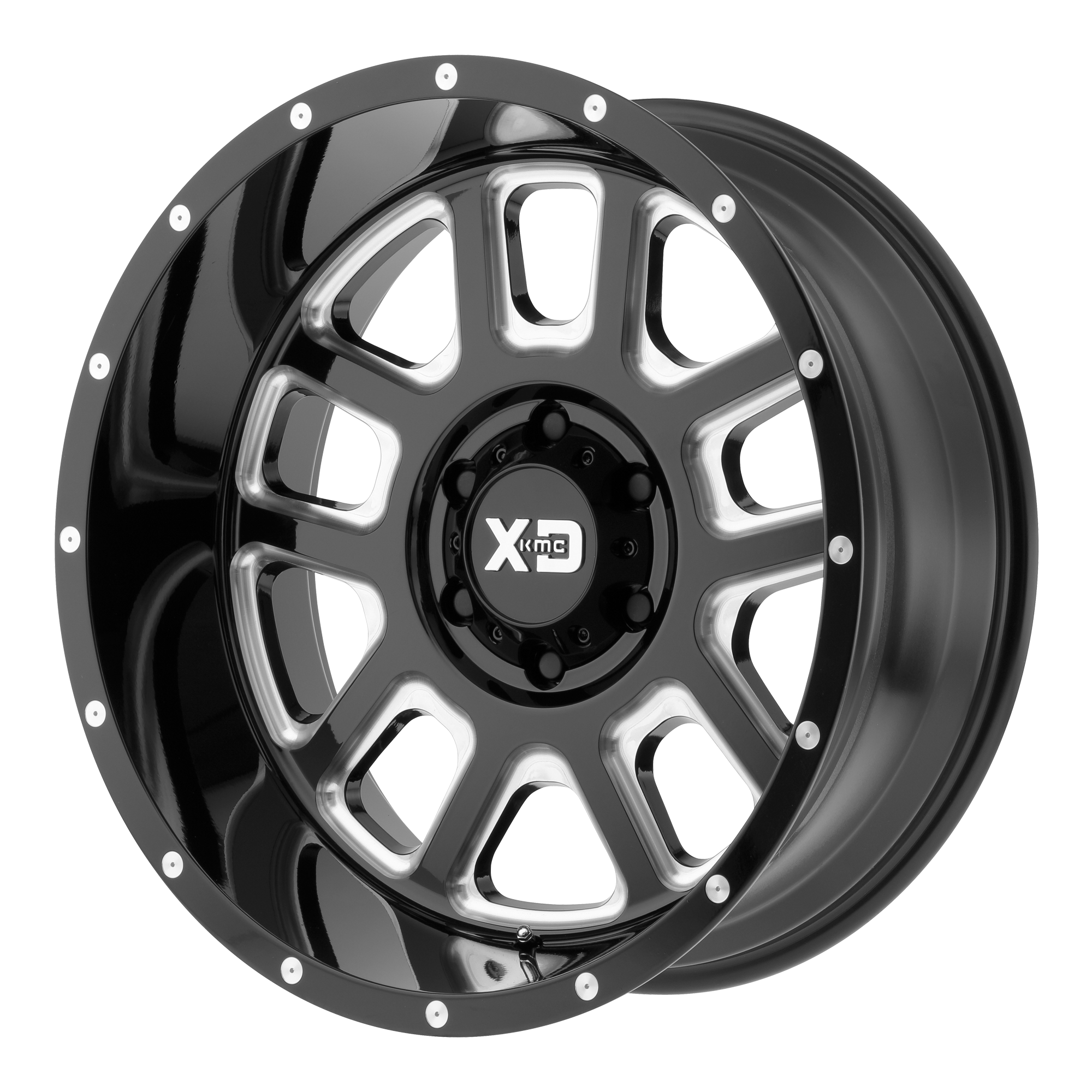 XD SERIES BY KMC WHEELS XD828 DELTA Gloss Black Milled