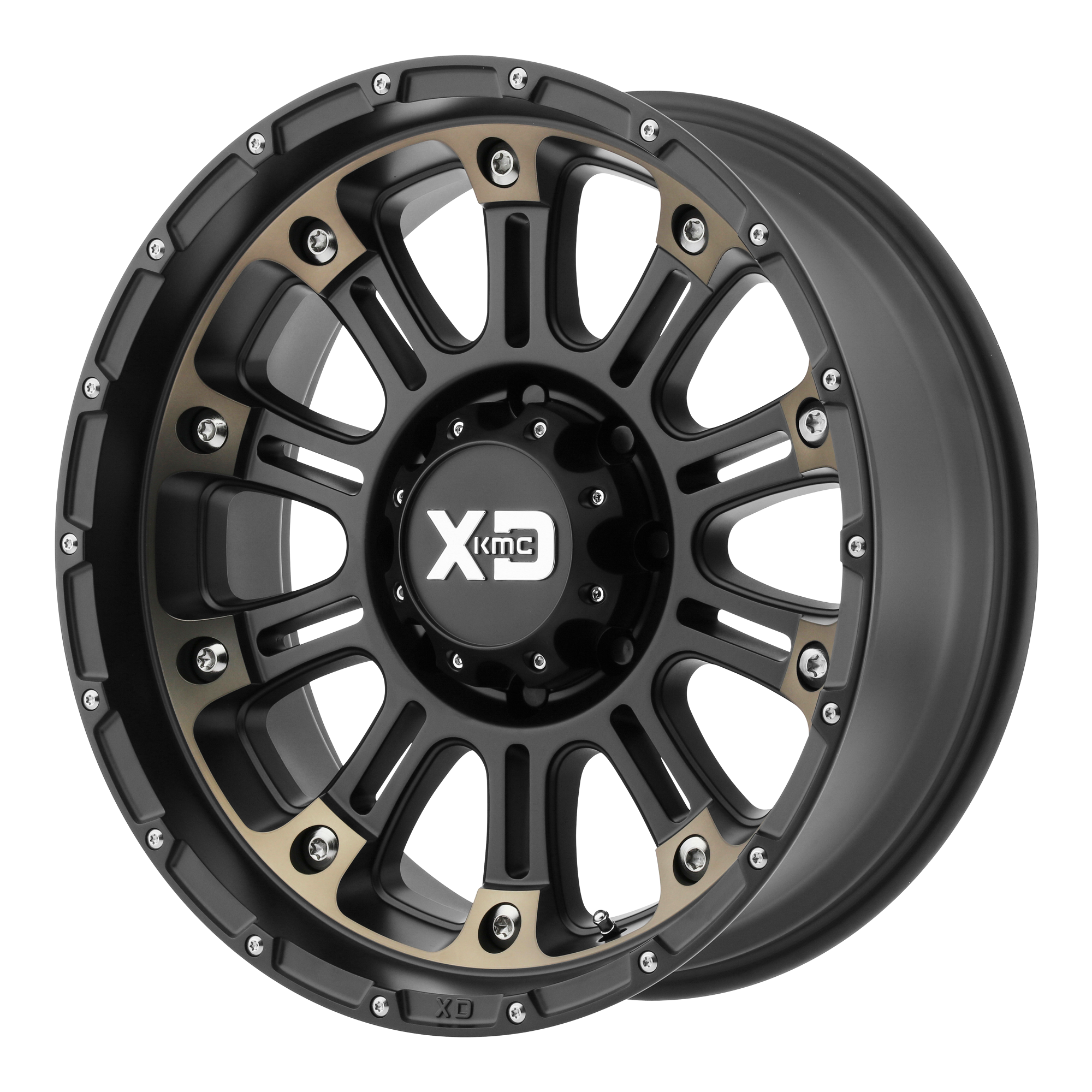 XD SERIES BY KMC WHEELS XD829 HOSS II Satin Black Machined With Dark Tint Clear Coat