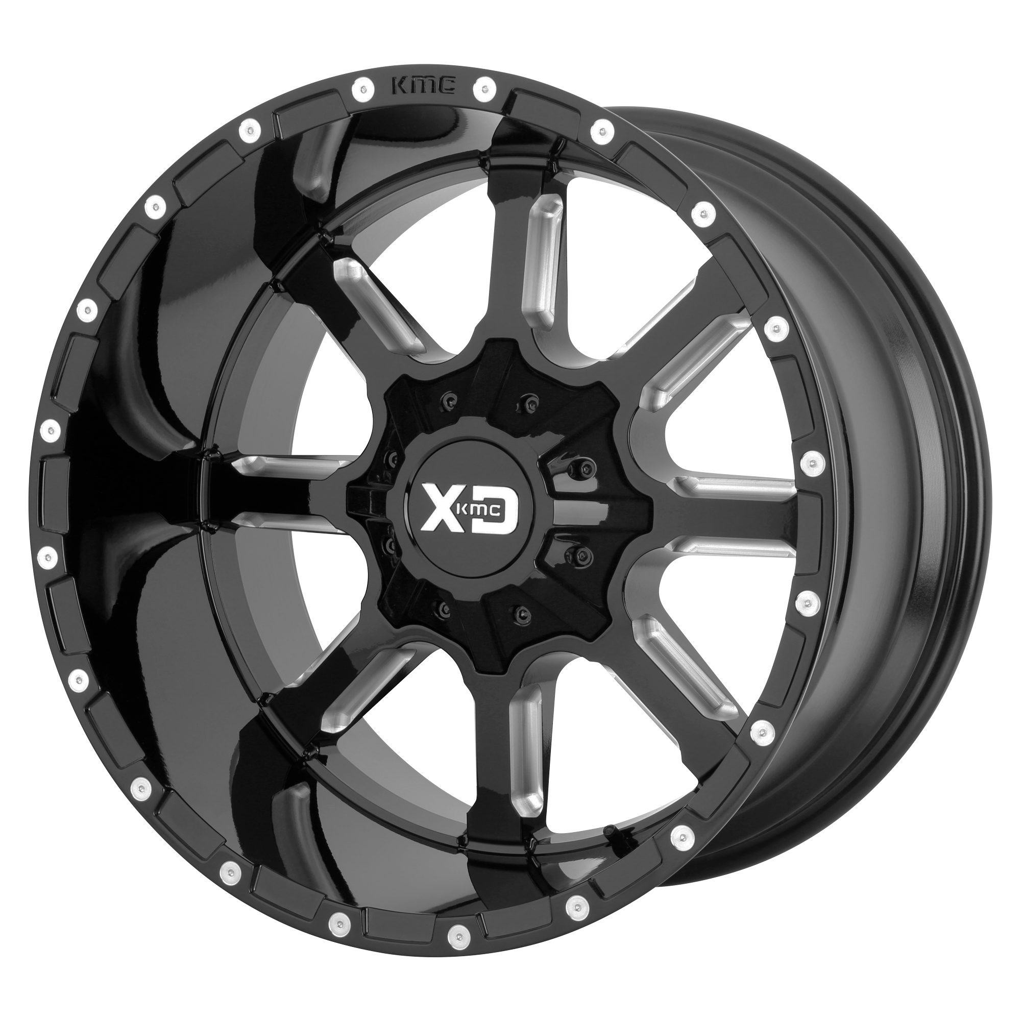 XD SERIES BY KMC WHEELS XD838 MAMMOTH Gloss Black Milled